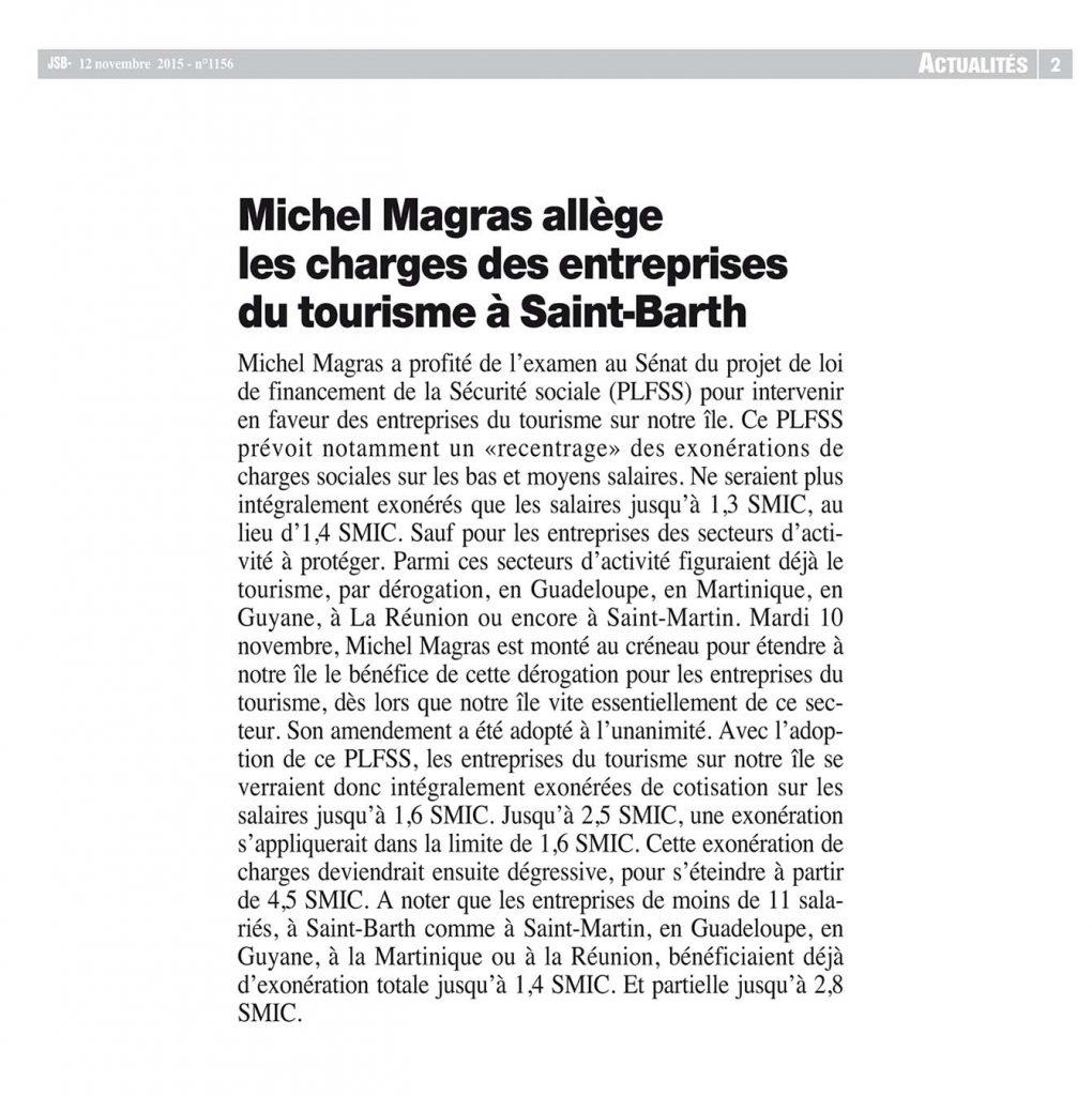 Michel Magras allège les charges des entreprises du tourisme à Saint-Barth