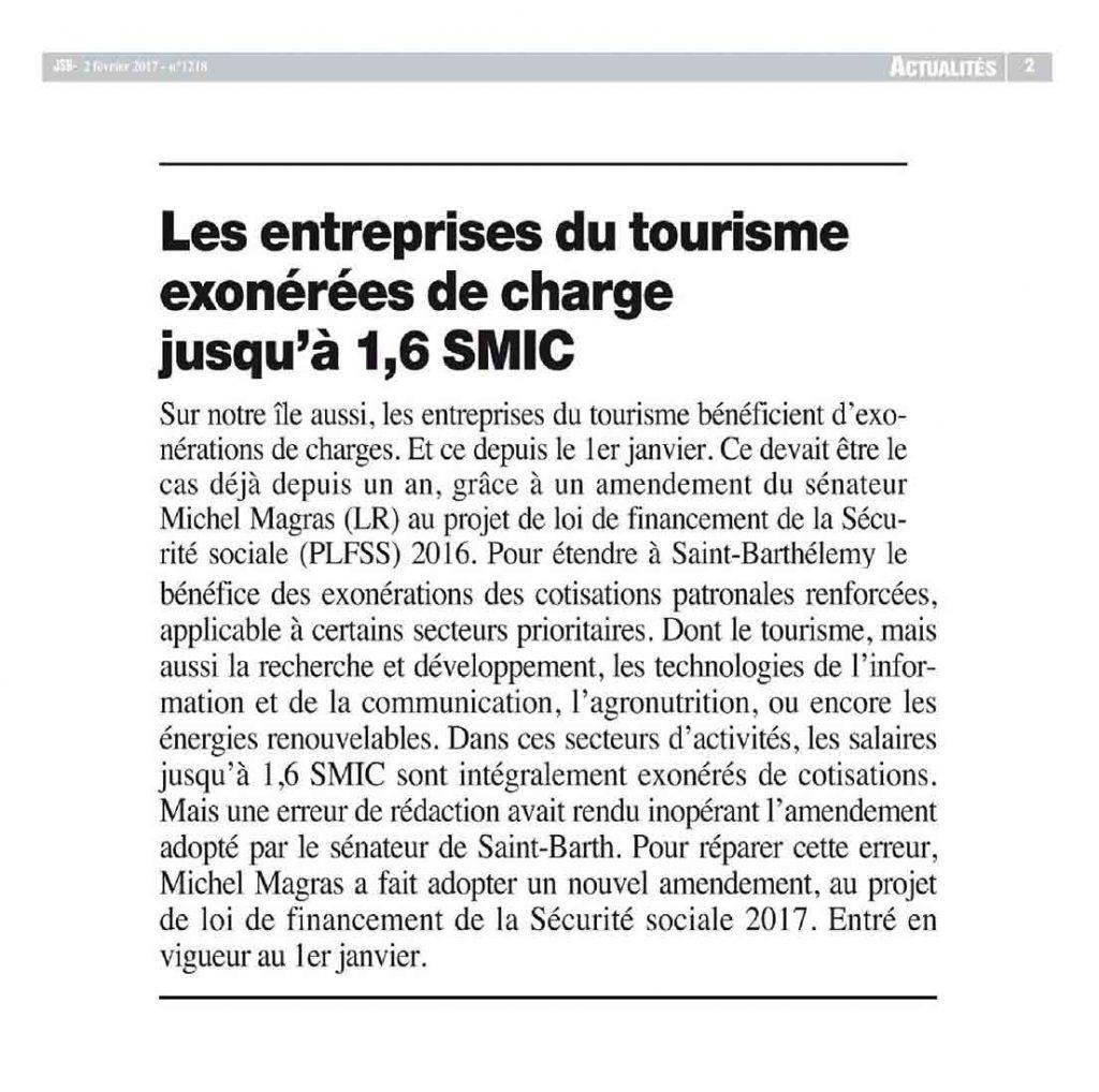 Les entreprises du tourisme à Saint-Barth exonérées de charges jusqu'à 1,6 SMIC