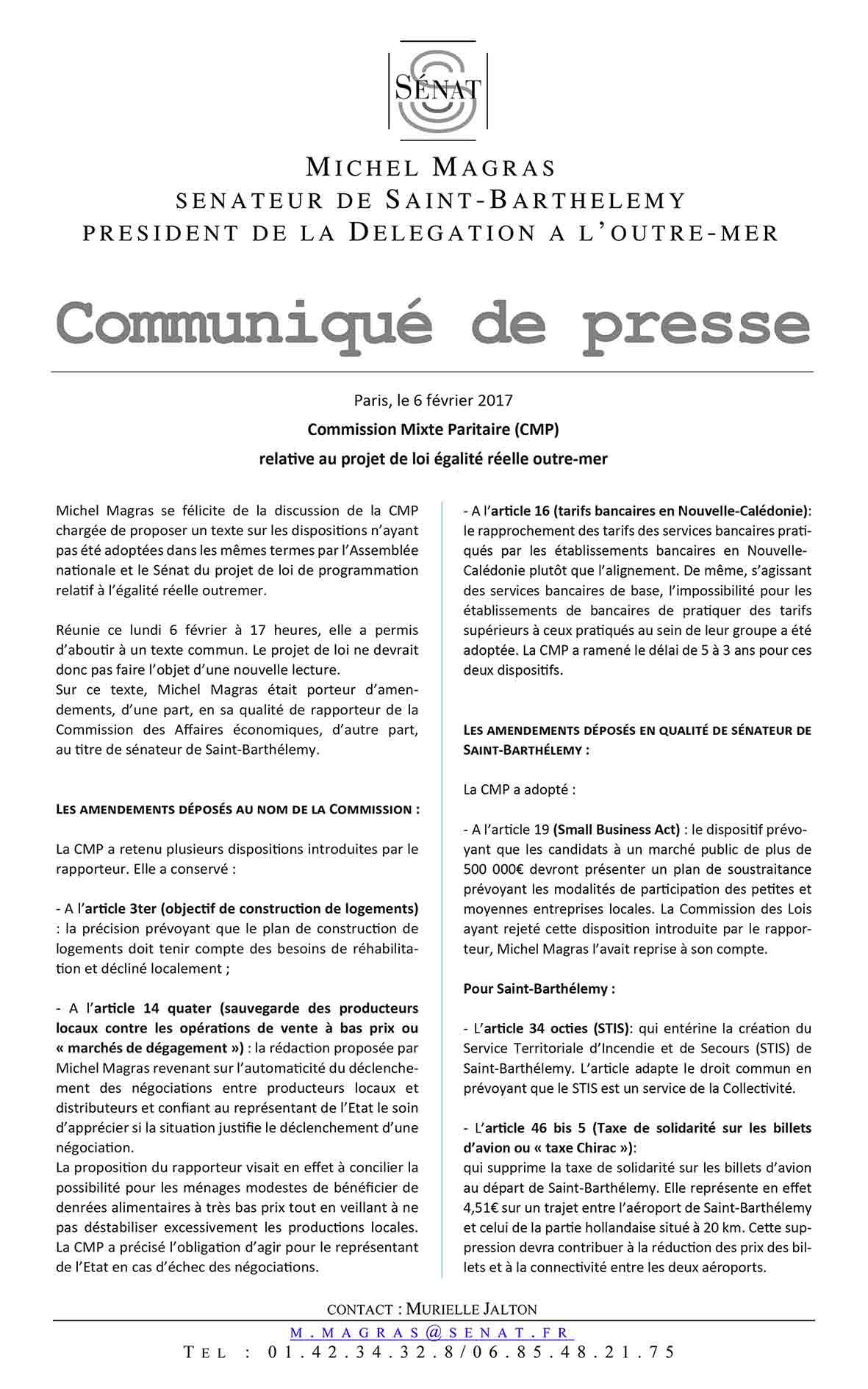 communiqué Égalité réelle outre-mer (loi EROM)