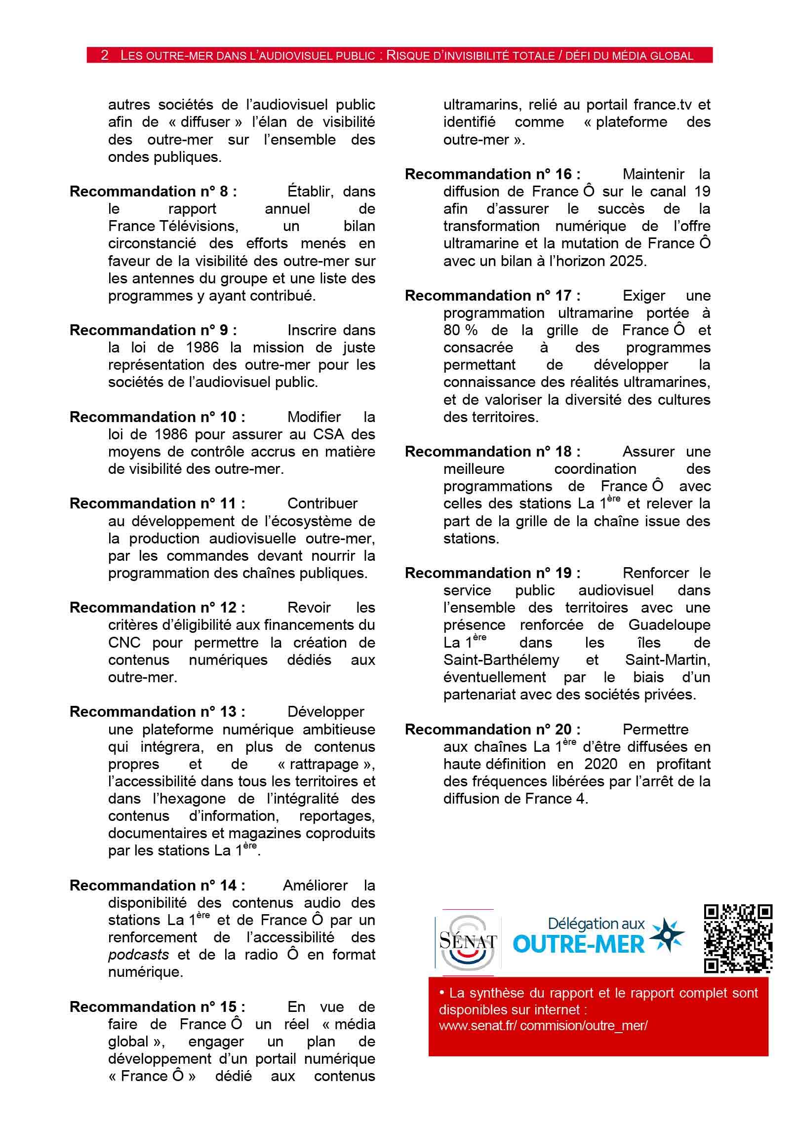 20 recommmandations. rapport audiovisuel public délégation sénatoriale outre-mer